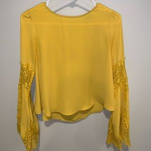 Flare Sleeve Yellow Blouse